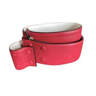 Delvaux Red & Ivory Vintage Belt - Size 80
