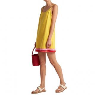 Staud Sonny linen-blend raffia tassel-trim dress