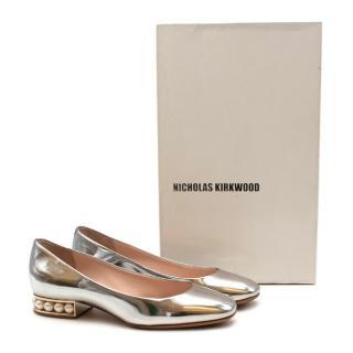 Nicholas Kirkwood Silver Leather Pearl Ballerina Flats