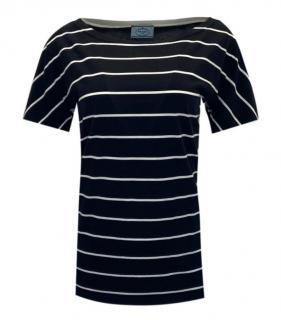 Prada Blue Cotton Striped Top