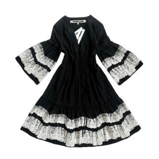 McQ by Alexander McQueen Black Lace Trim Dress