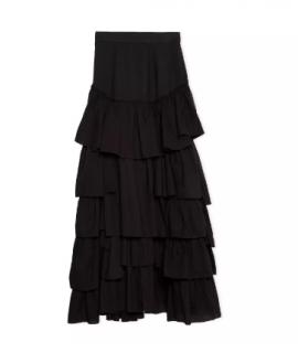 Loewe Paula's Ibiza Black Cotton Tiered Ruffled Skirt