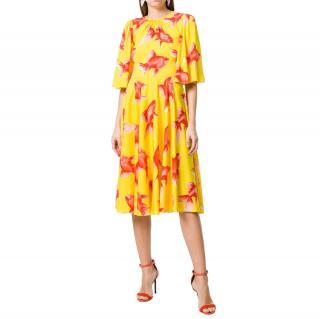 Dolce & Gabbana Yellow silk Goldfish print Charmeuse Tea Dress