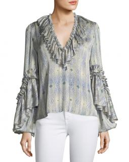 Alexis ruffle neck and sleeves statement blouse