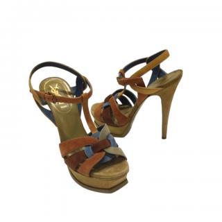 Saint Laurent Khaki Suede Tribute Sandals