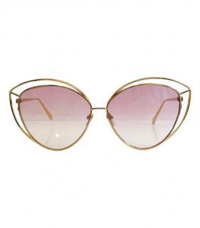 Linda Farrow Pink Lorita 22kt Gold Cat-Eye Sunglasses