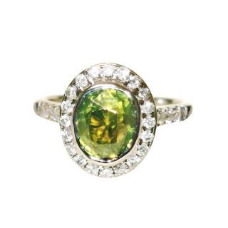 Bespoke 18ct White Gold Ethiopian Garnet & Diamond Ring