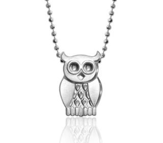 Alex Woo Silver Tone Owl Pendant Necklace