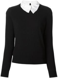 Carven Black Classic Sweater w/ detachable shirt collar