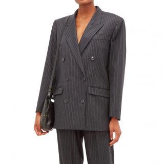 Isabel Marant Meladim double-breasted pinstripe grey blazer