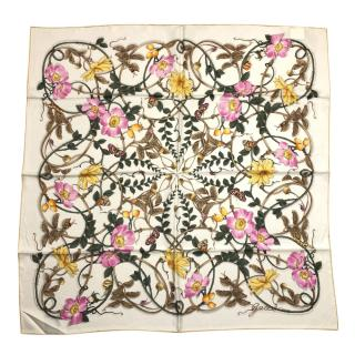 Gucci Ivory Pink & Yellow Floral Print Silk Scarf 90