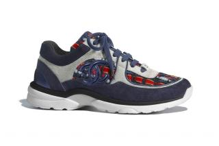 Chanel Blue & Red Tweed/Suede CC Sneakers