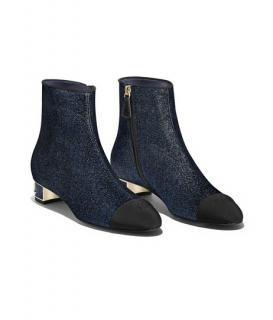 Chanel Metallic Blue Logo Heel Ankle Boots