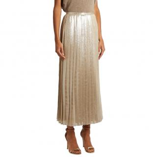 Max Mara Pleated Champagne Faro Skirt