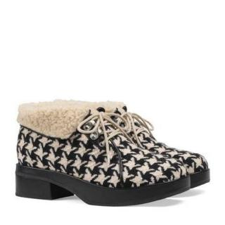 Gucci  Black White Victor Shearling Houndstooth Boots