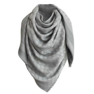 Gucci Grey Monogram Wool & Silk Scarf