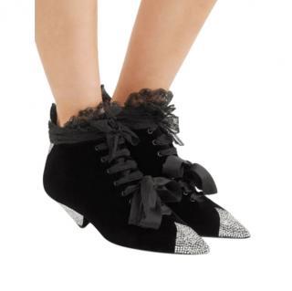 Saint Laurent Blaze Crystal-Embellished Lace-Trimmed Velvet Ankle Boot
