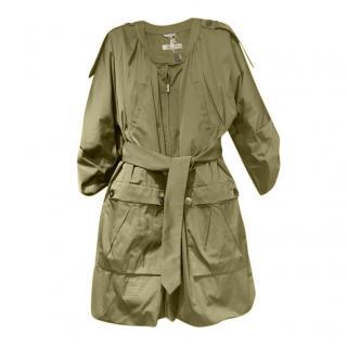 Sportmax Khaki Satin Kimono Trench Coat