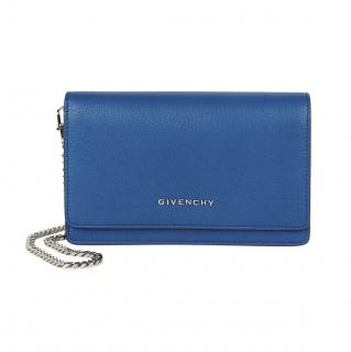 Givenchy Grained Leather Blue Pandora Wallet on Chain