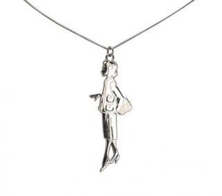 Chanel Silver Tone Coco Silhouette Pendant Necklace