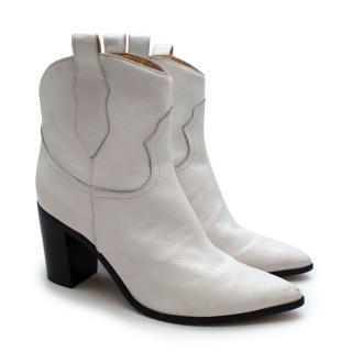 Schutz White Western Leather Boots