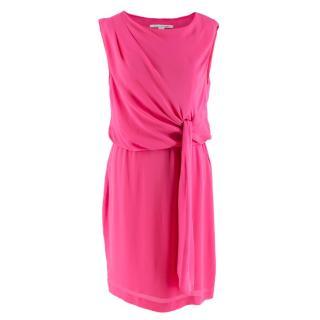 Diane von Furstenberg Tamara Neon Pink Silk Dress