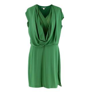 Diane von Furstenberg New Reara Draped Green Silk Dress
