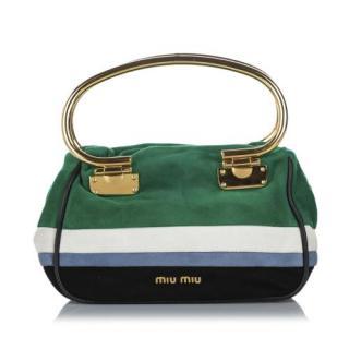 Miu Miu Suede Striped Top Handle Bag