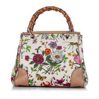 Gucci Bamboo Canvas Flora Shoulder Bag