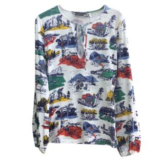 Love Moschino Camping Print Long Sleeve Top