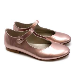 Bonpoint Pink Metallic Leather Mary Jane Flats