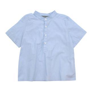 Bonpoint Blue Cotton Mandarin Collar Short Sleeve Shirt