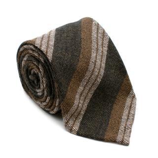 Cesare Attolini Green Striped Cashmere Tie