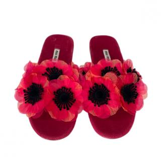 Miu Miu 3D Flower Applique Velour Sandals