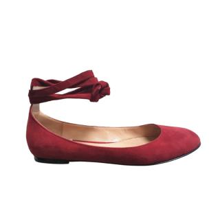 Gianvito Rossi Red Suede Ankle Wrap Ballerinas