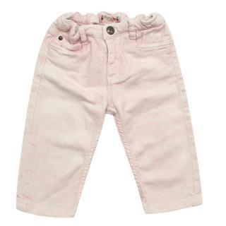 Bonpoint Pink Cotton Acid Wash Jeans