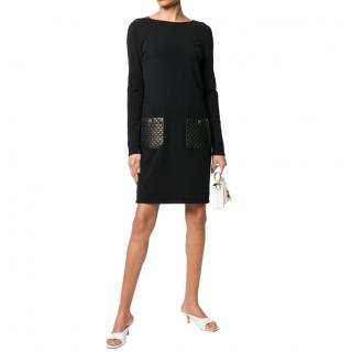 Chanel Black Cashmere Blend Shift Dress with Leather Pockets