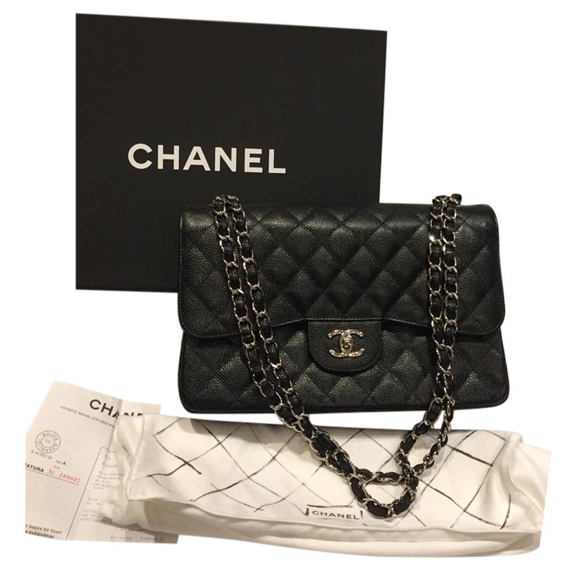 Chanel Black Caviar Calfskin Double Flap