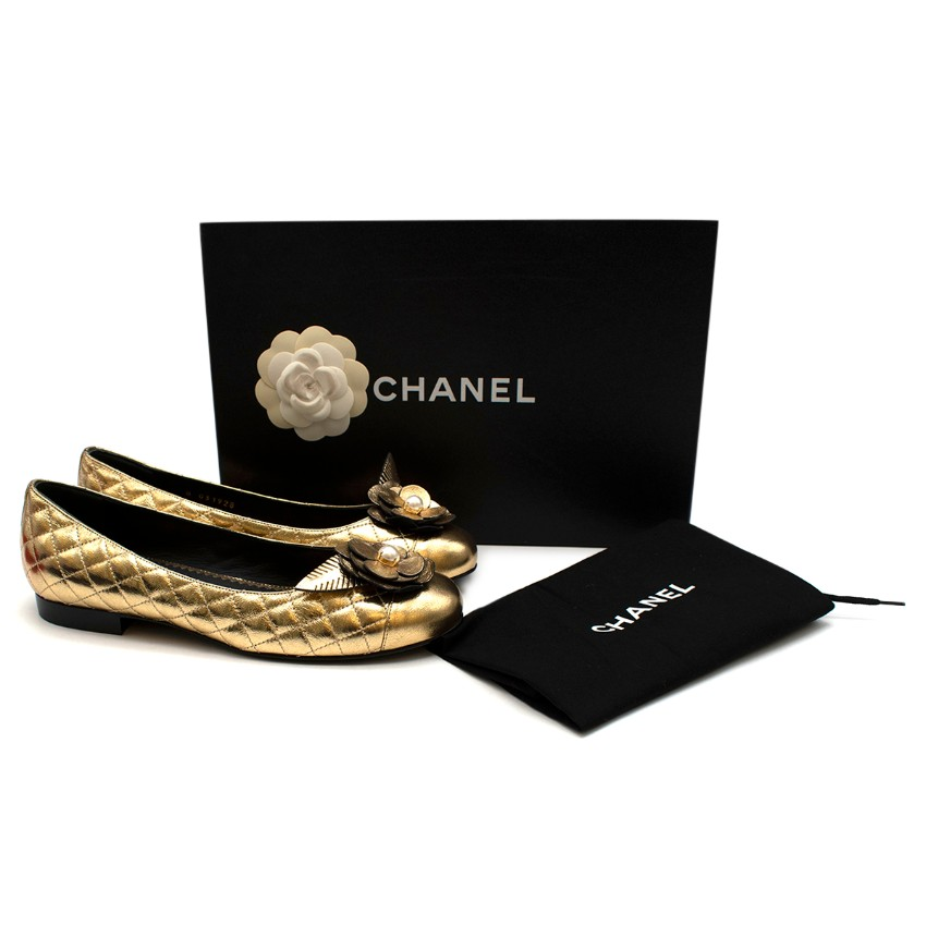Chanel Gold Flower Pearl Quilted Ballet Flats