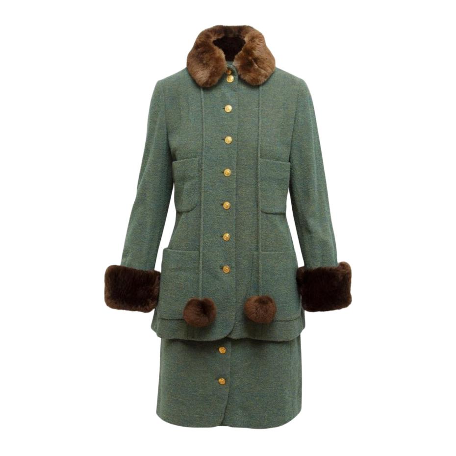 Chanel Boutique Vintage Fur Trim Green Skirt Suit