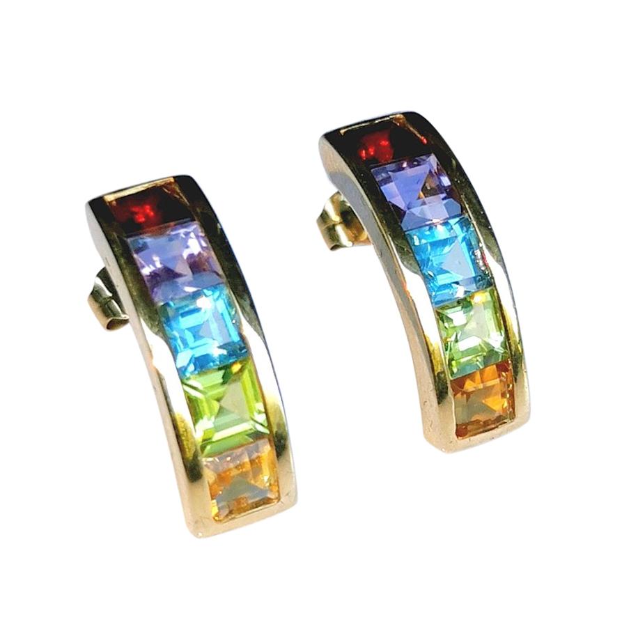 Bespoke Multi-Gemstone Yellow Gold Earrings