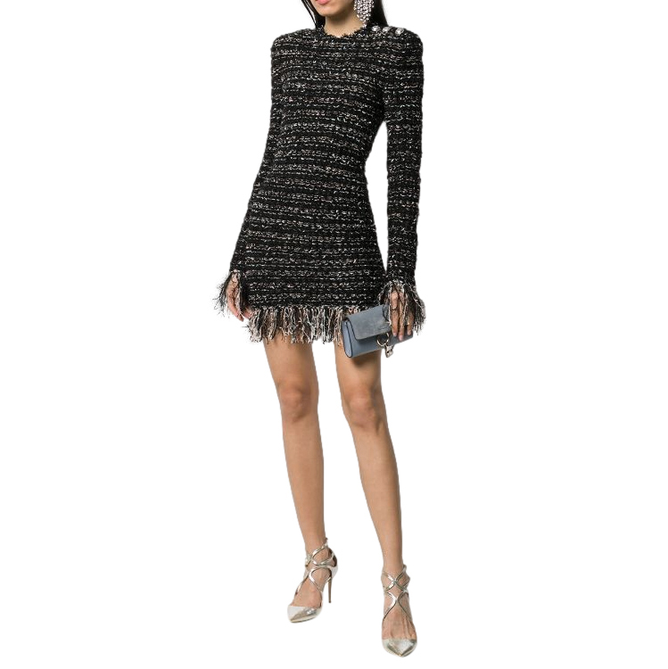 Balmain Black Tweed Fringed Mini Dress