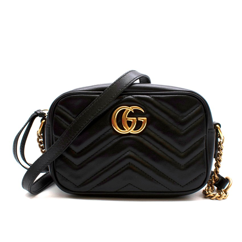 Gucci Black Leather GG Marmont Matelasse Mini Crossbody Bag