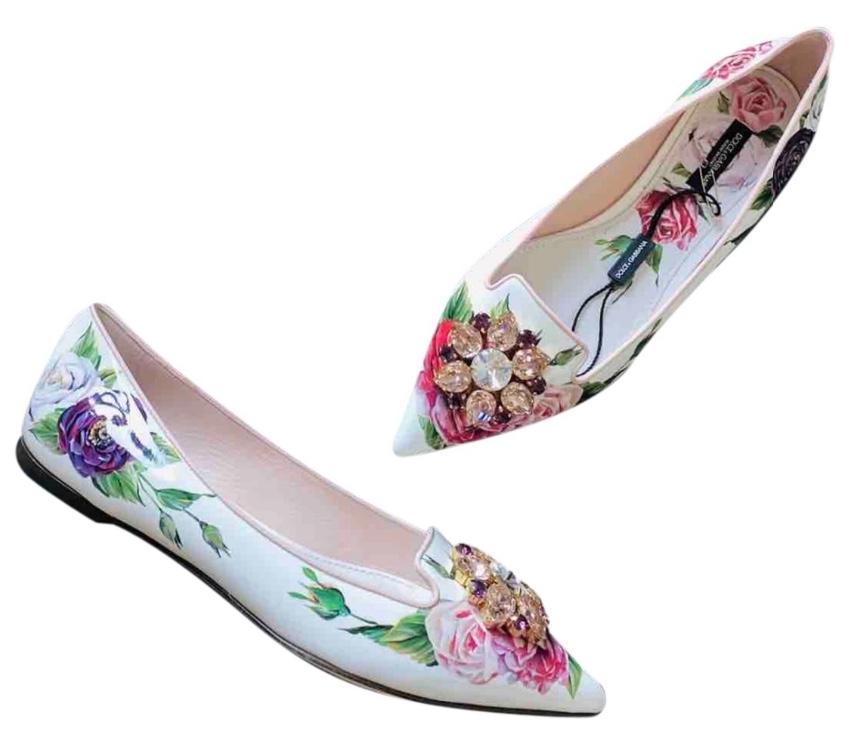 Dolce & Gabbana White Floral Print Crystal Embellished Ballerinas