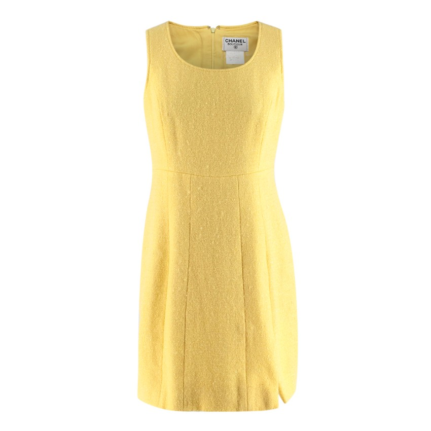 Chanel Boutique Vintage Yellow Wool Blend Tweed Dress
