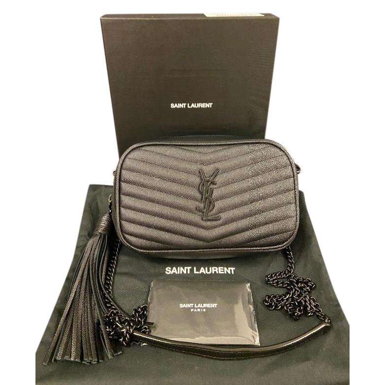 Saint Laurent Black Chevron Monogram Camera Bag