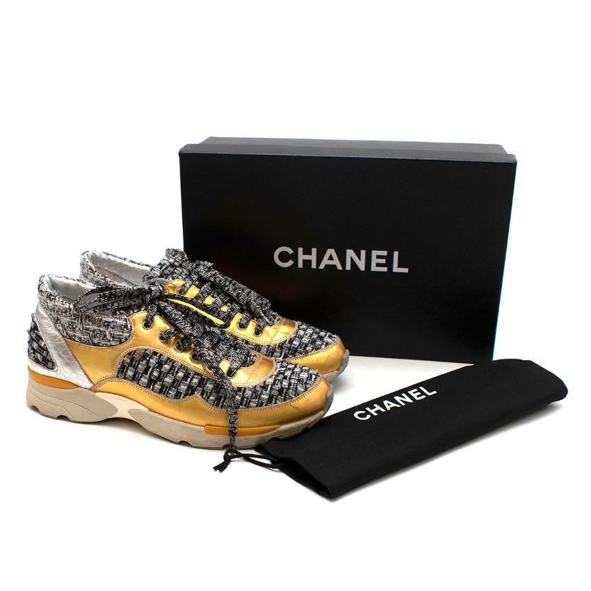 Chanel Grey & Gold Tweed & Leather Trainers
