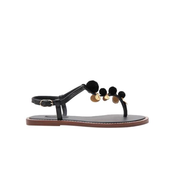 Dolce & Gabbana Medallion Pom Pom Sandals