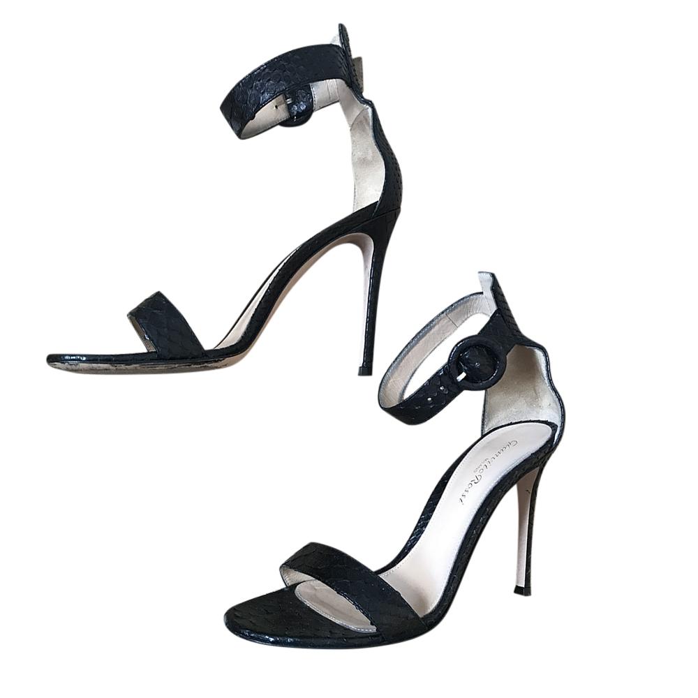 Gianvito Rossi Black Snakeskin Portofino 105 Sandals