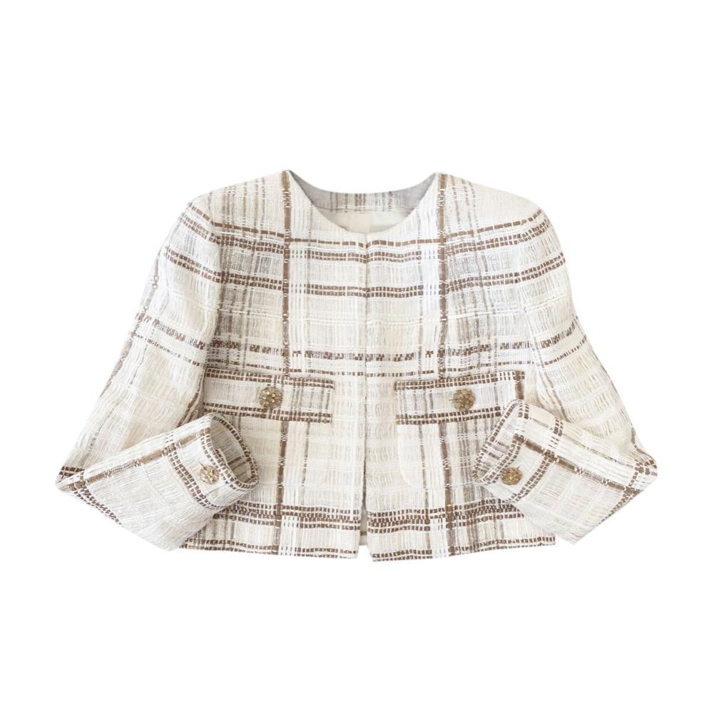 Chanel Paris/Dubai Ecru Lesage Tweed Cropped Jacket